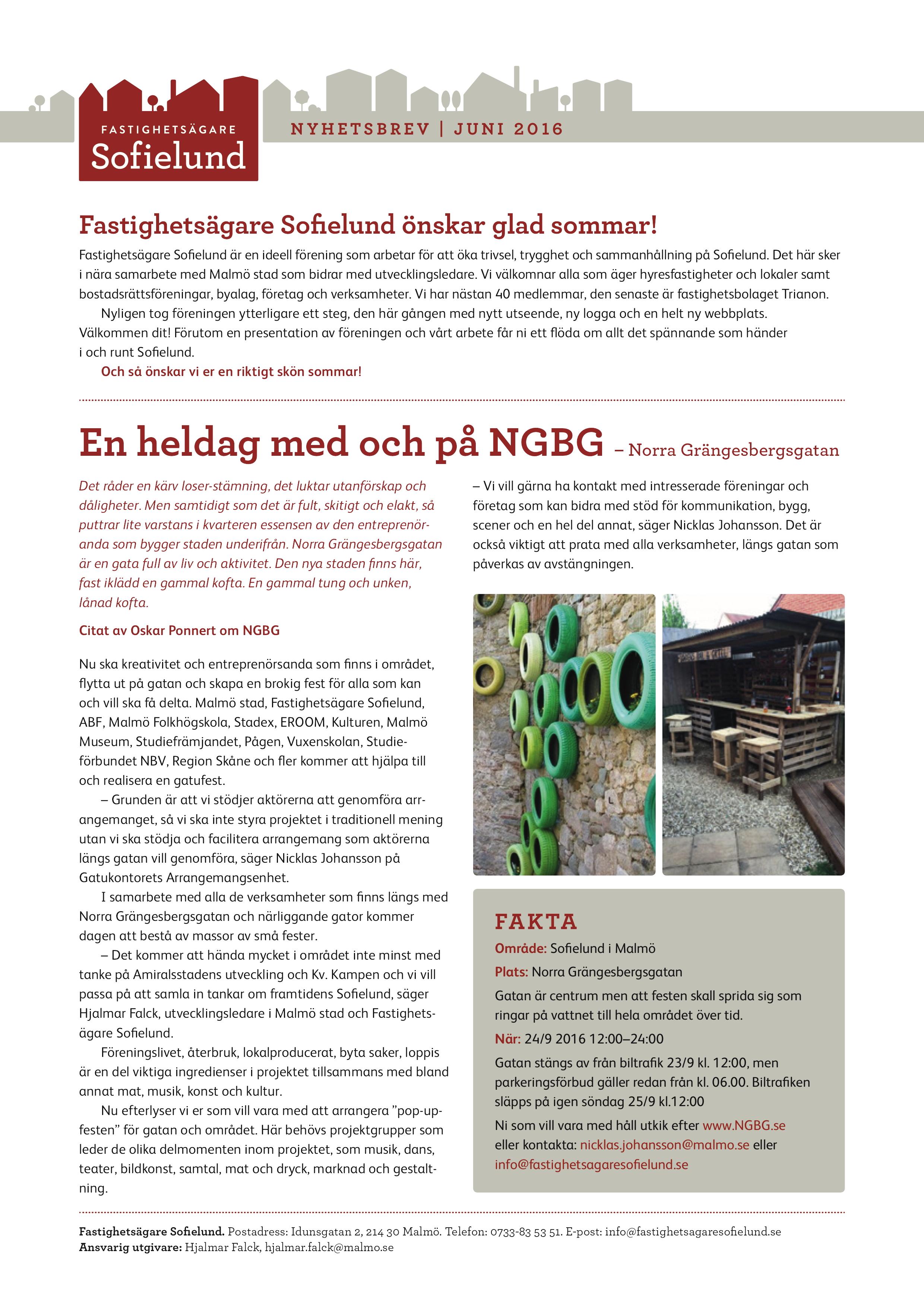 Fastighetsägare Sofielunds nyhetsbrev