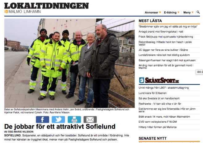 Reportage med goda nyheter från Sofielund